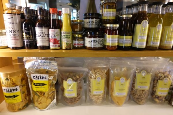 salad dressing, mushroom relish, salted egg chips, squid rings & glazed nuts