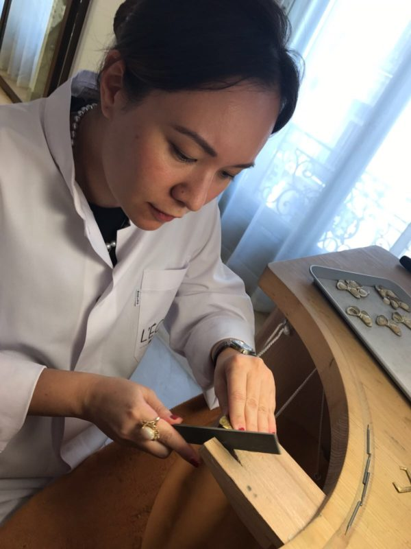 Nicole at work during a recent short but intensive course at Van Clef and Arpels